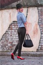 dark green Zara hat - army green Topshop jeans - black Topshop bag