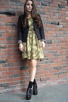 black H&M blazer - black vintage shoes - brown DaniL dress