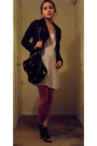 slience and noise jacket - cynthia rowley purse - dress - jeffery cambell shoes