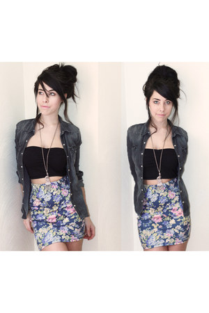denim Forever 21 shirt - cotten H&M skirt