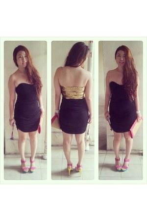 black bareback asoscom dress - bubble gum patent heels