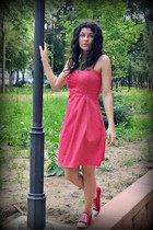 red s  white Bershka dress - red Shoes sneakers