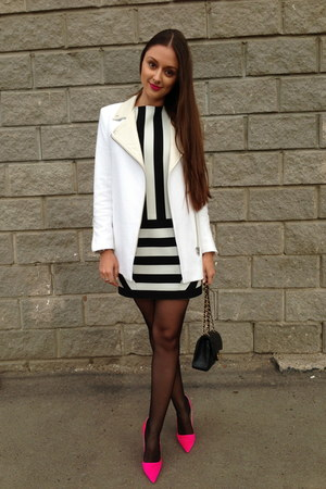 black Maje dress - white SANDRO coat - black Chanel bag