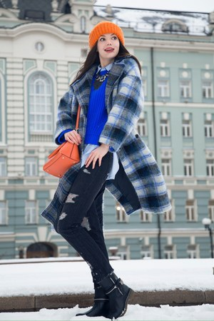 Zara boots - asos coat - Zara jeans - pull&bear sweater - DKNY bag