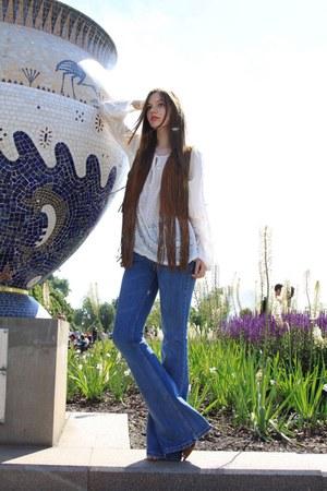 sky blue Zara jeans - ivory Zara blouse - dark brown Zara vest