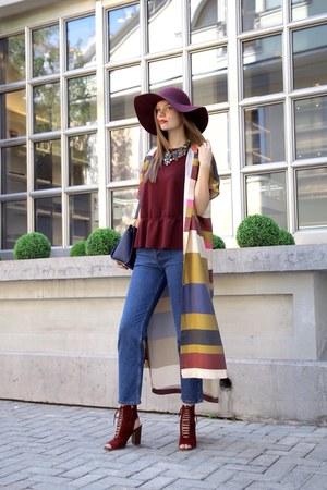 maroon Topshop hat - H&M dress - maroon Zara sandals - maroon H&M top