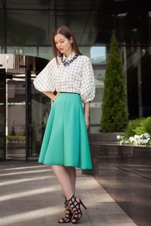 white asos shirt - aquamarine Topshop skirt - black Zara heels