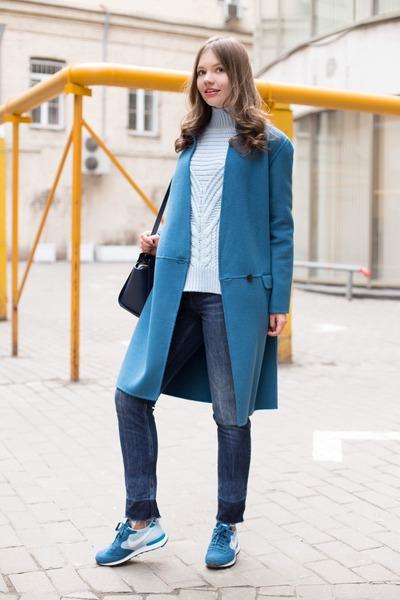 Zara coat - light blue asos sweater - nike sneakers