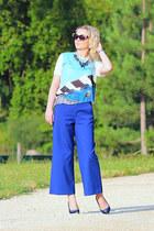 Zara necklace - Topshop sunglasses - Zara t-shirt - Zara heels - Zara pants