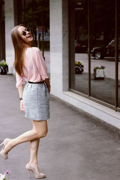 eggshell Barbara Bui shoes - light pink Celine shirt - emporio armani sunglasses