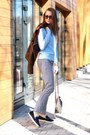 Navy-shoes-brown-leather-coat-sky-blue-shirt-heather-gray-bag-glasses