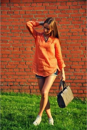 Zara blouse - Converse sneakers - Zara necklace