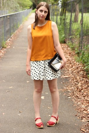 white Zara skirt - white Forever New bag - red Swedish Hasbeens clogs