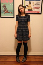 navy asos dress - black asos socks - silver Minelli flats