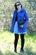 black asos boots - blue 660s coat asos coat