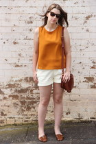 mustard Topshop top - tawny saddle bag asos bag