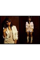 beige Topshop shirt - Loalde blazer - beige Janylin boots - Mango sunglasses