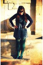 yuki dress - Calzedonia tights - vintage shoes - vintage scarf - vintage cardiga