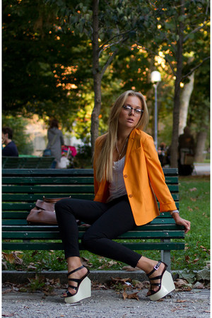 orange Jil Sander blazer - burnt orange YSL bag - black Giuseppe Zanotti wedges