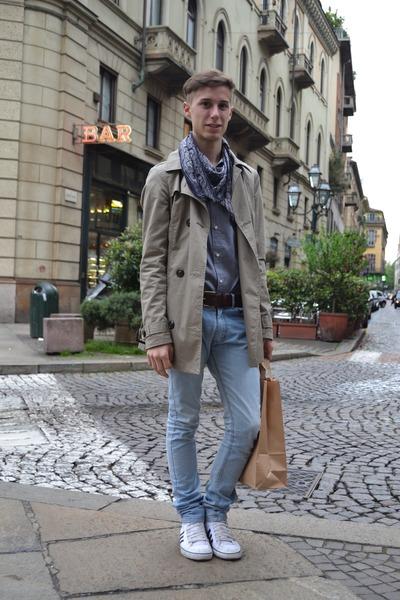 sky blue FRAV jeans - beige jacket - heather gray H&M shirt