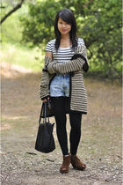white H&M shirt - black free people cardigan - blue Lucky Brand Jeans jeans - br