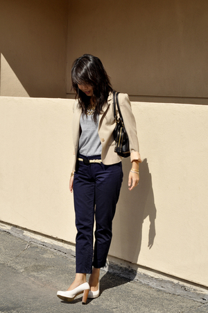 vintage blazer - pants - H&M shirt - exchange by charles david shoes - longchamp