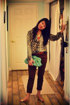 chartreuse Forever 21 purse - dark brown Zara pants - carrot orange H&M top - ne