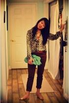 chartreuse Forever 21 purse - dark brown Zara pants - carrot orange H&M top - ne