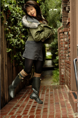 American Eagle jacket - sweater - Gap socks - Hunter boots