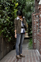 DIY Band jacket by F21 blazer - Levis jeans - Gap shirt - blouse - shoes - Gap b