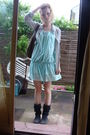Brown-gemo-accessories-blue-only-dress-gray-only-blouse-blue-boots-silve