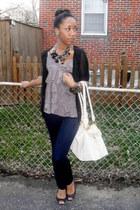 H&M jeans - H&M shirt - vintage purse - Steve Madden flats - Zac Posen cardigan