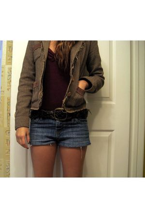blue Forever 21 shorts - brown Marshalls belt - red American Apparel shirt - bro