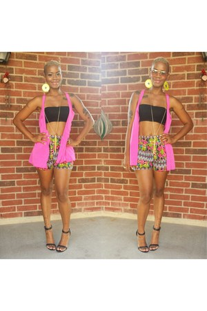 hot pink DIY cape - chartreuse asos shorts - camel Accessorize accessories