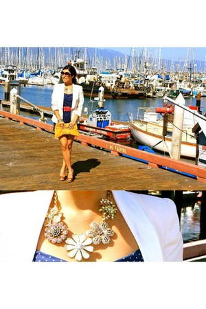 bubble gum necklace - white blazer - yellow bag - black sunglasses - red belt
