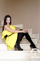 yellow dress - black tights - black heels