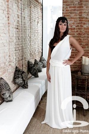 white dress - black accessories