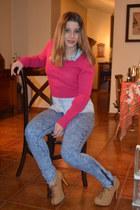 blue Primark jeans - camel Feira boots - hot pink Primark sweater