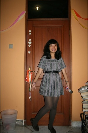 dress - belt - tights