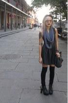 black lame Lush dress - black bowler hat - charcoal gray infinity scarf