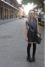 Black-lame-lush-dress-black-bowler-hat-charcoal-gray-infinity-scarf