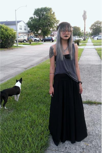 black maxi free people skirt - charcoal gray tank Honey Punch top