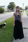 Black-maxi-free-people-skirt-charcoal-gray-tank-top