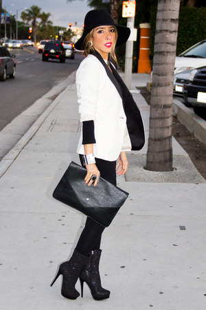 white tuxedo blazer HAUTE & REBELLIOUS blazer - black HAUTE & REBELLIOUS purse