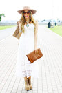 White-panama-dress-tan-jeffrey-campbell-boots-brown-haute-rebellious-purse
