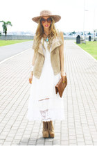 white Panama dress - tan Jeffrey Campbell boots - brown HAUTE & REBELLIOUS purse