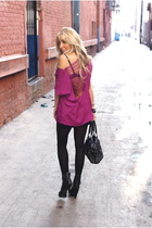 black shirt - pink blouse - black shoes