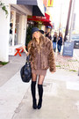 Brown-soho-coat-black-h-m-hat-brown-haute-rebellious-sweater-black-h-m-tig