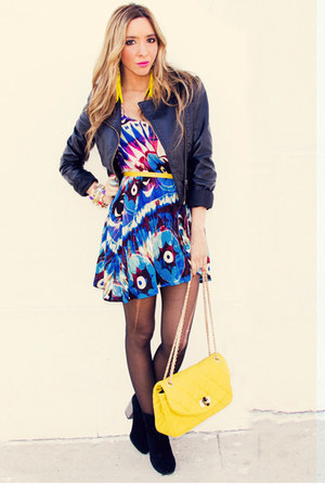 navy HAUTE &amp; REBELLIOUS dress - yellow HAUTE &amp; REBELLIOUS bag