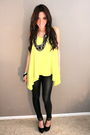 Yellow-neon-blouse-black-leather-leggings-black-platform-shoes